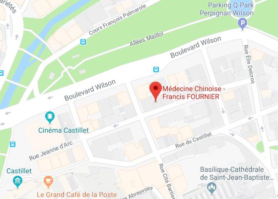 Plan d'accès au cabinet de Médecine Chinoise de Francis Fournier à Perpignan